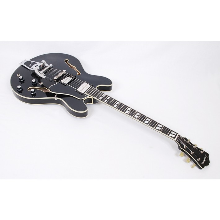 Eastman T486B-BK Deluxe Thinline Hollowbody in Trans Black With Bigsby #50157