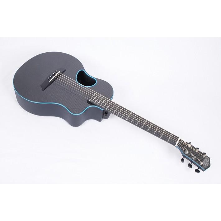 McPherson Touring Carbon Fiber Travel Guitar With Blue Binding & Electronics - Contact us for  ETA