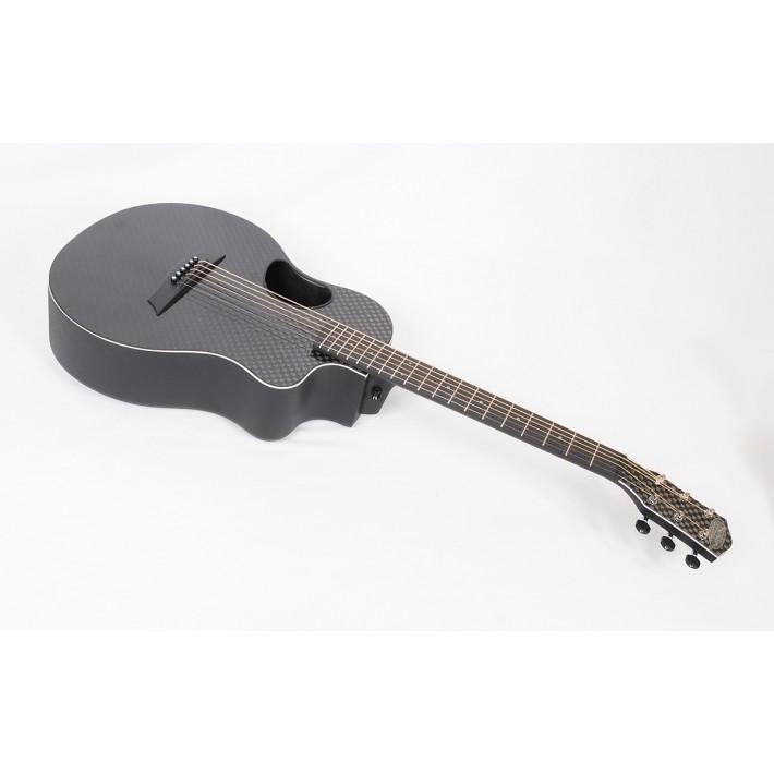 McPherson Touring Carbon Fiber Travel Guitar With Basketweave Top, White Binding & Electronics