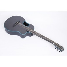 McPherson Touring Carbon Fiber Travel Guitar With Blue Binding & Electronics - Contact us for  ETA